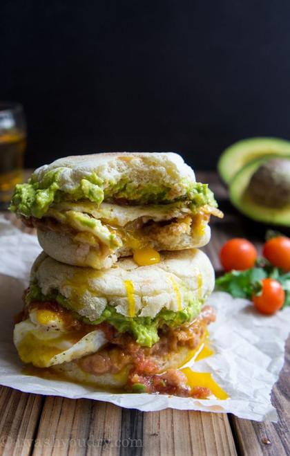 Huevos Rancheros Breakfast Sandwich - (Free Recipe below)
