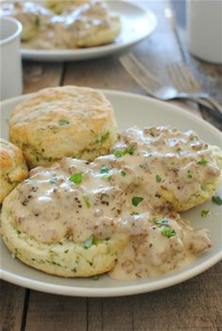 Herbed Buttermilk Biscuits with Sausage Gravy - (Free Recipe below)