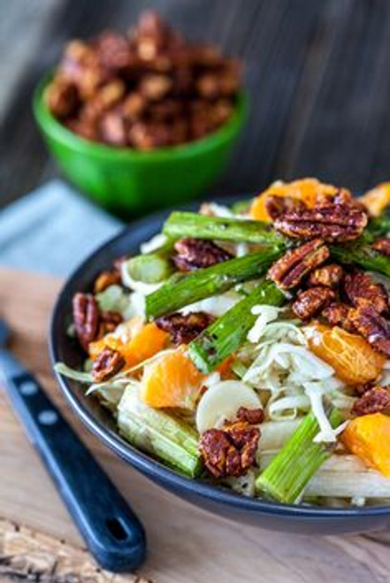 Heart of Palm, Jicama , Asparagus Cabbage Salad with Tangerines & Maple Sriracha Pecans - (Free Recipe below)