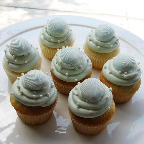 Ocean Pearl Sea Shell Cupcakes - One Dozen