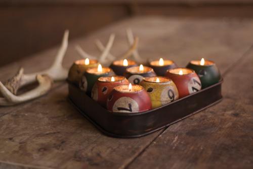 Pool Balls Candle Holder Set