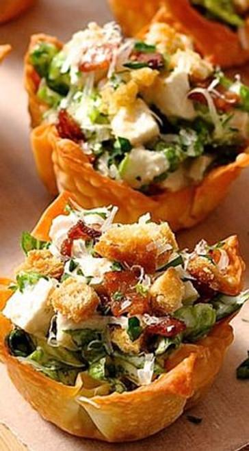 Caesar Salad Wonton Cups - (Free Recipe below)