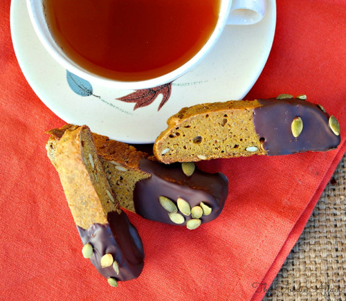 Pumpkin Biscotti Dipped in Chocolate - 3 Dozen