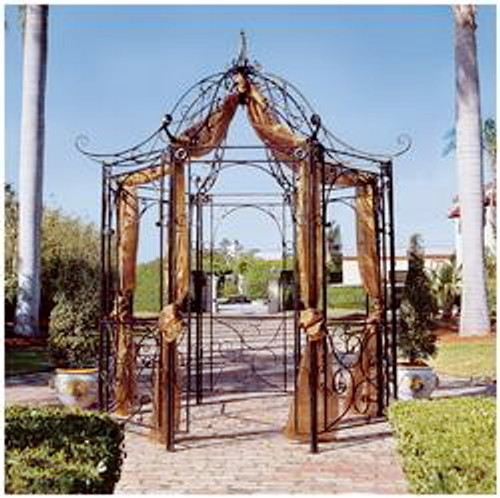 Tuscan Georgian Wrought Iron Gazebo - custom sizes, designs accepted