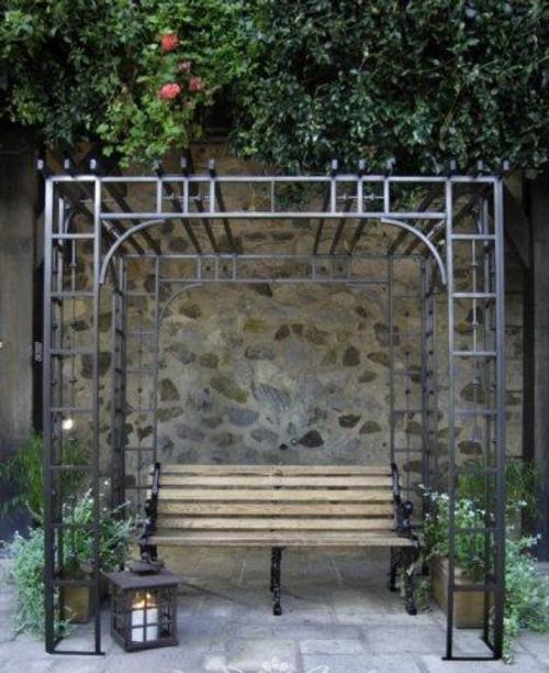 Ornamental Metal Round Top Garden Rose Arbor Bench