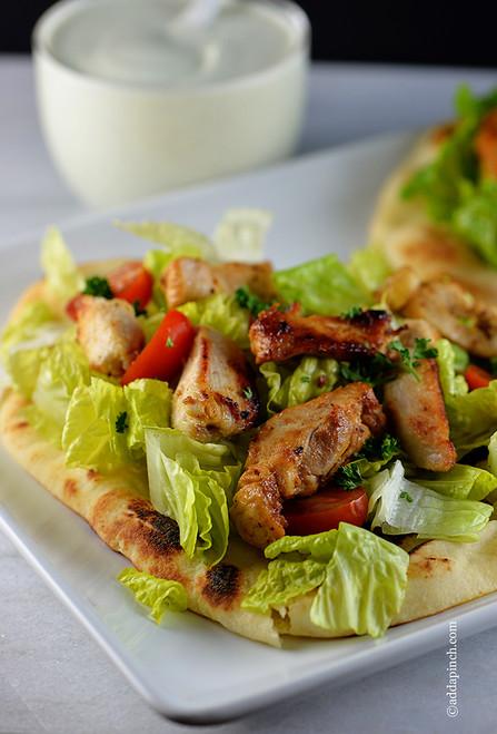 Chicken Souvlaki on Naan Wrap - (Free Recipe below)