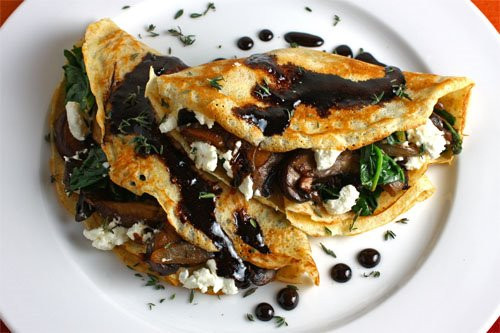 Mushroom and Spinach Crepes with Goat Cheese and Balsamic Drizzle - (Free Recipe below)