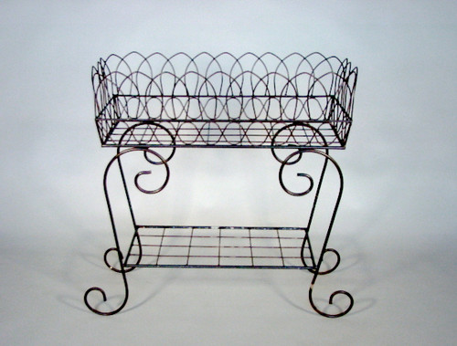 """Scroll 34"""" Wrought Iron Plant Stand"""