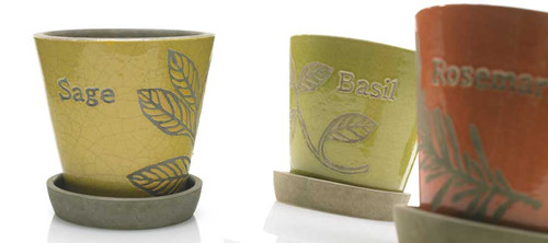 Set of 3 Herb Pots - Sage, Basil, Rosemary