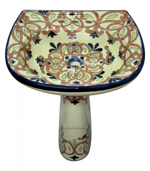 Helena Hand Painted Pedestal Sink - custom designs available