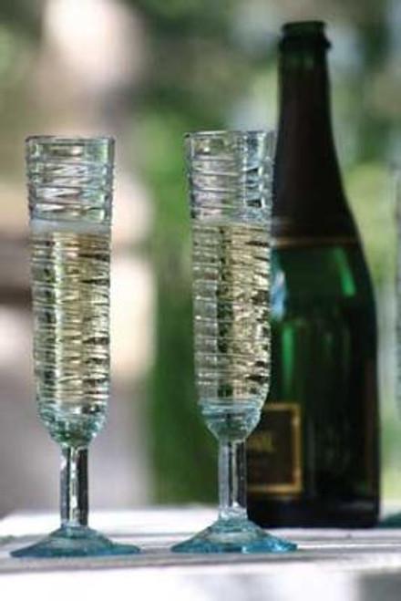 Swirl Champagne Glasses with Ridges - set of 6