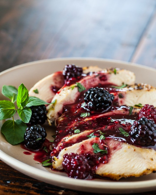 GRILLED CHICKEN WITH BLACKBERRY SWEET AND SOUR SAUCE - (Free Recipe below)