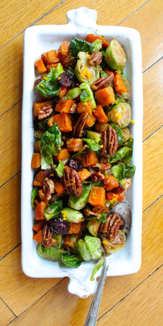 ORANGE GLAZED BRUSSELS SPROUTS & BUTTERNUT SQUASH - (Free Recipe below)