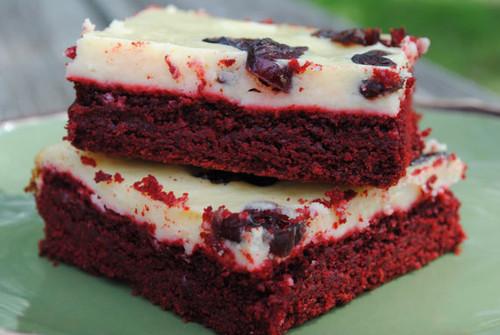 Red Velvet Cheesecake Bars w/ Cranberries - One Dozen