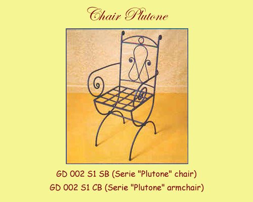 Plutone Wrought Iron Chair w/ or without Arms
