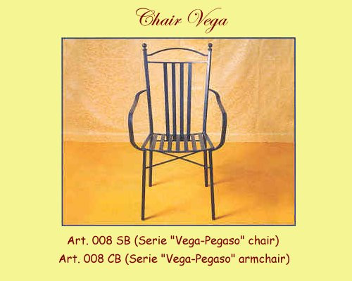 Vega Wrought Iron Chair w/ or without Arms