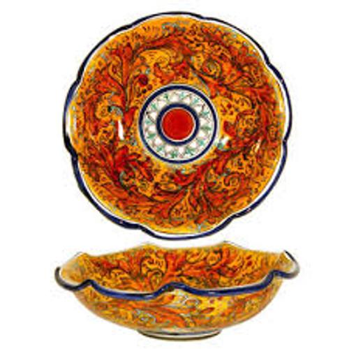 Red Swirl Sicilian Serving Bowl