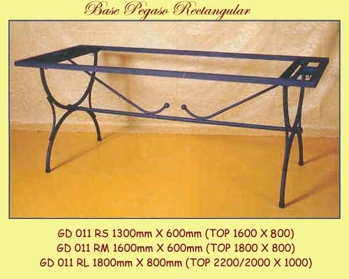 Pegaso Rectangular Wrought Iron Table Base - multiple sizes available