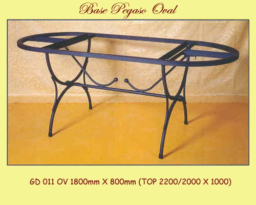 Pegaso Oval Wrought Iron Table Base - multiple sizes available