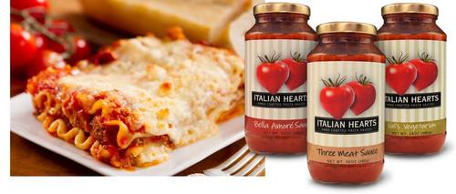 Italian Hearts Pasta Sauce - Pasta Amore, 3 Meat & Vegetarian