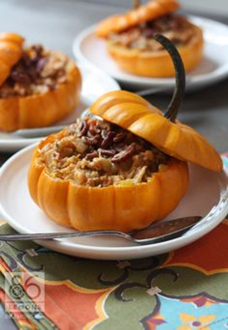 Harvest Vegetable Stew in Mini Pumpkins (vegan, gf) - Free Recipe below