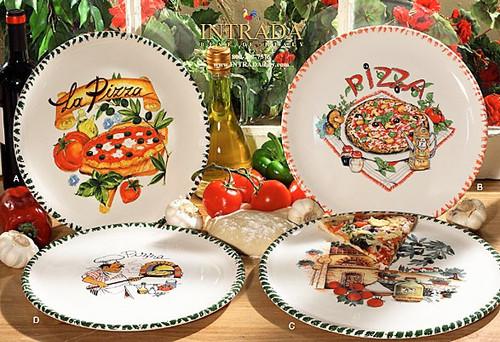 Italian Ceramic Pizza Plates - Set of 4
