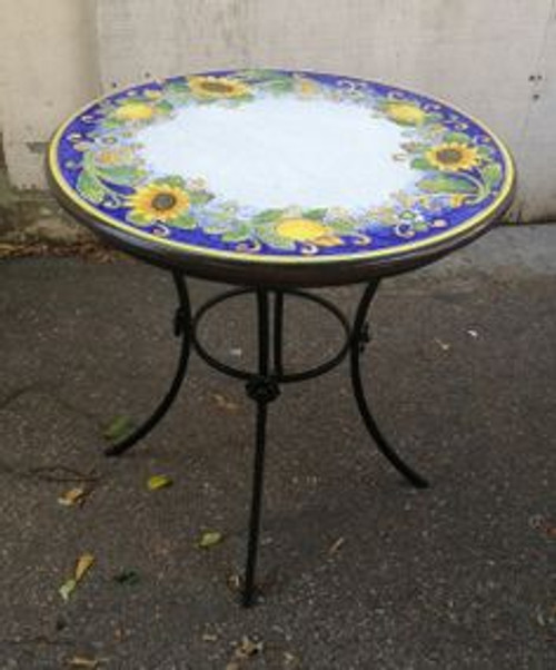 """Small Round Italian Table w/ Iron Base - 26"""""""