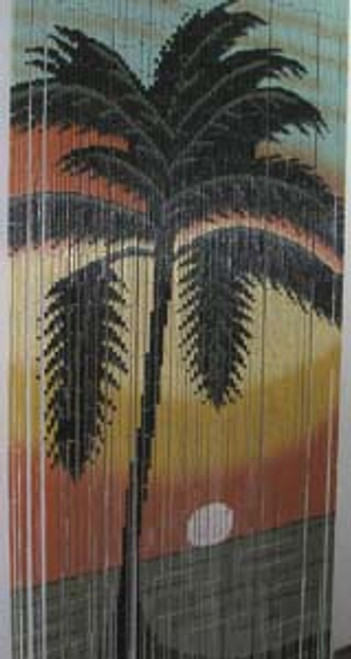 Palm Sunset Bamboo Beaded Curtain
