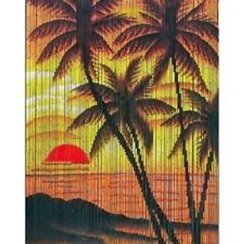 Tropical Beach Paradise Bamboo Beaded Curtain