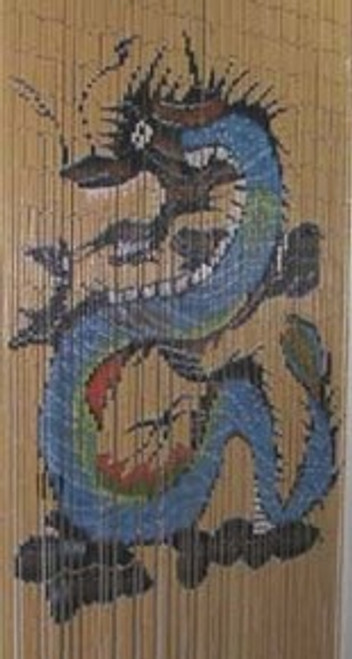 Blue Dragon Bamboo Beaded Curtain