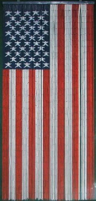 American Flag Bamboo Beaded Curtain