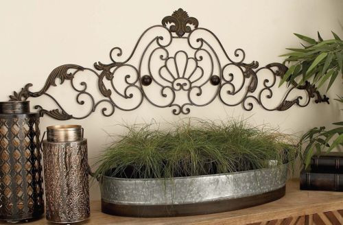 Antique Bronze Wrought Iron Scroll Arch Leaf Design Wall Grille