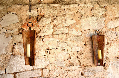 Rustic Ancient Tile Wall Candle Sconces - Set of 2
