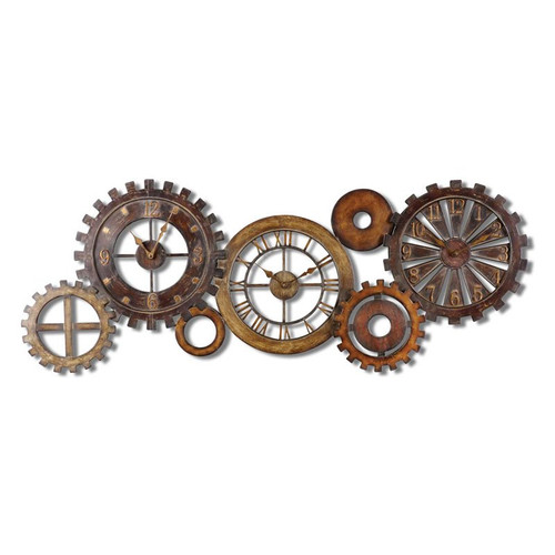 "Rusty Gear Wall Clock Decor 54"" w"