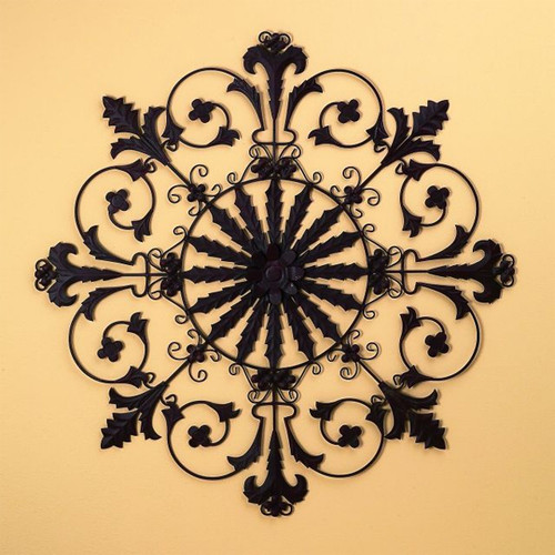"""Large Medallion Iron Wall Grille - 50""""d"""