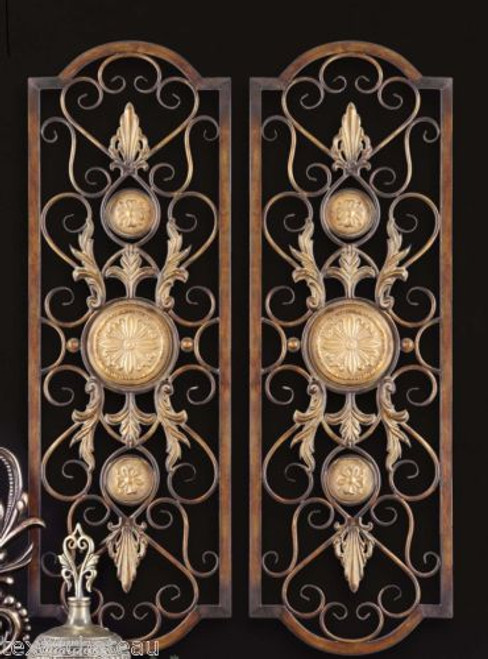 2 LARGE FRENCH DECOR IRON SCROLL WALL GRILLES