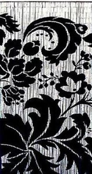 Black & White Flowers Bamboo Beaded Curtain