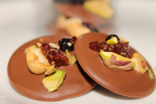 Mendiants - Milk Chocolate w/ Cherries, Blueberries & Pistachios