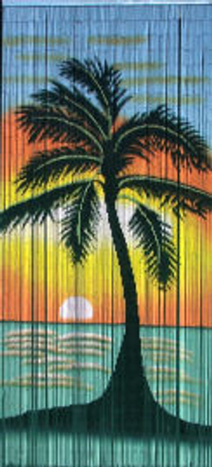 Sunset Palms Bamboo Beaded Curtain