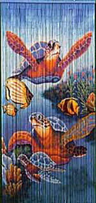Swimming Turtles Bamboo Beaded Curtain