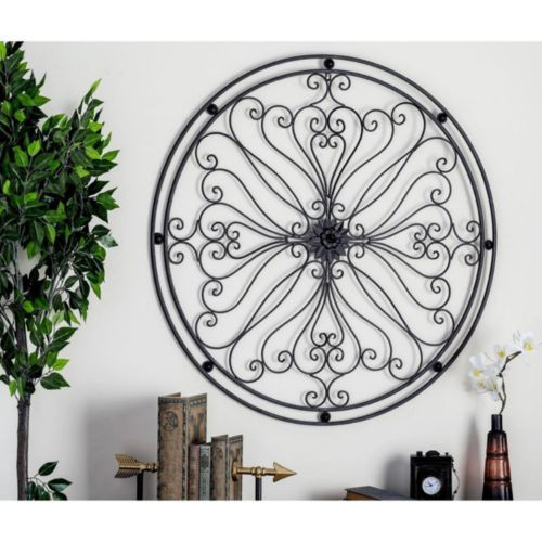 Round Vintage Floral Swirl Iron Scroll Wall Art Decor