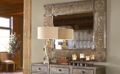 Distressed Champagne Leaf Wall Mirror