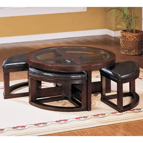 Cherry Coffee Table With 4 Ottomans