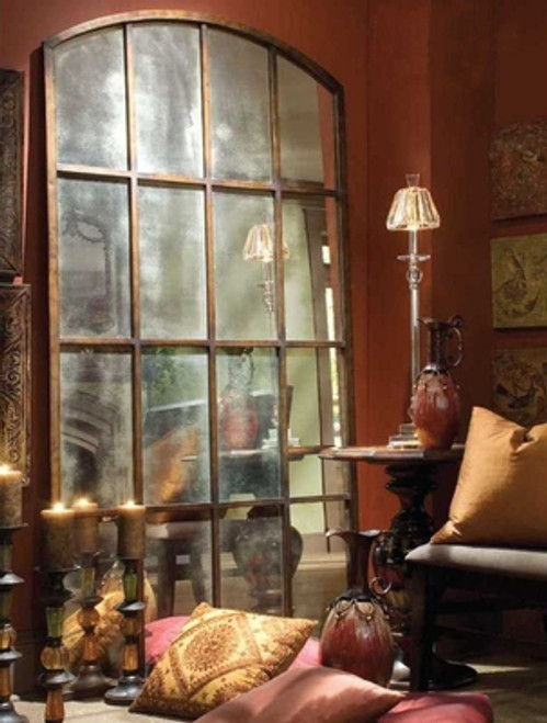 "Grande Loft Style Antiqued Mirrored Window 82""h"