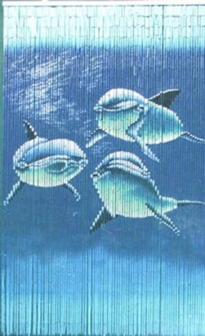3 Swimming Dolphins Bamboo Beaded Curtain
