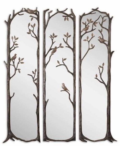 Perching Birds Set of 3 Wall Mirrors