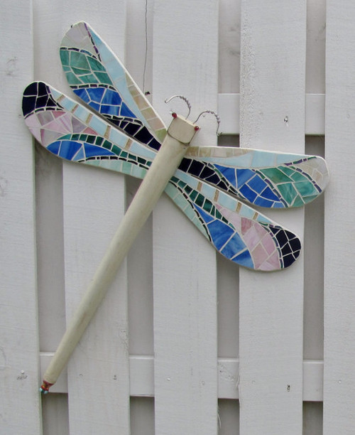 Dragonfly Hand Cut Stained Glass Mosaic Table Leg Wall Hanging