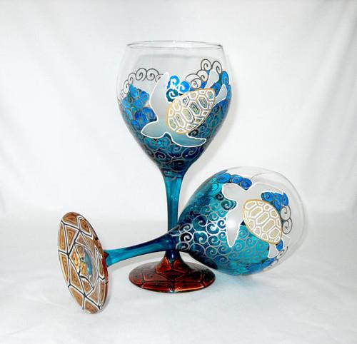Sea Turtle Hand Painted Wine Glasses
