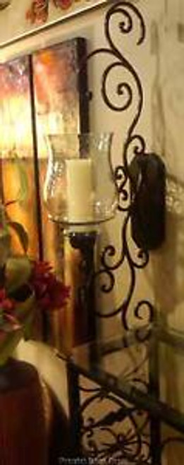 Iron Scroll Wall Sconce With Hammered Glass