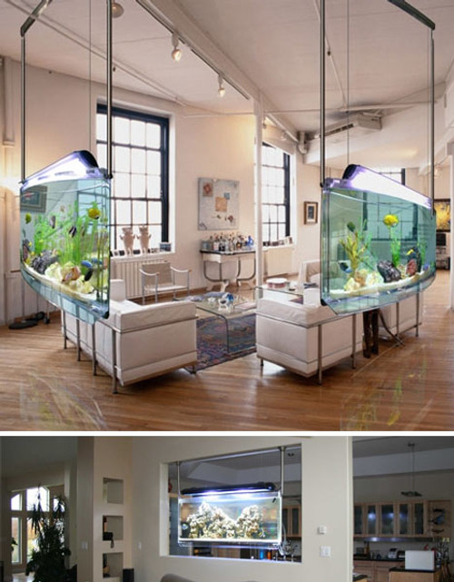 Modern Wall Hanging / Room Divider Fish Tank